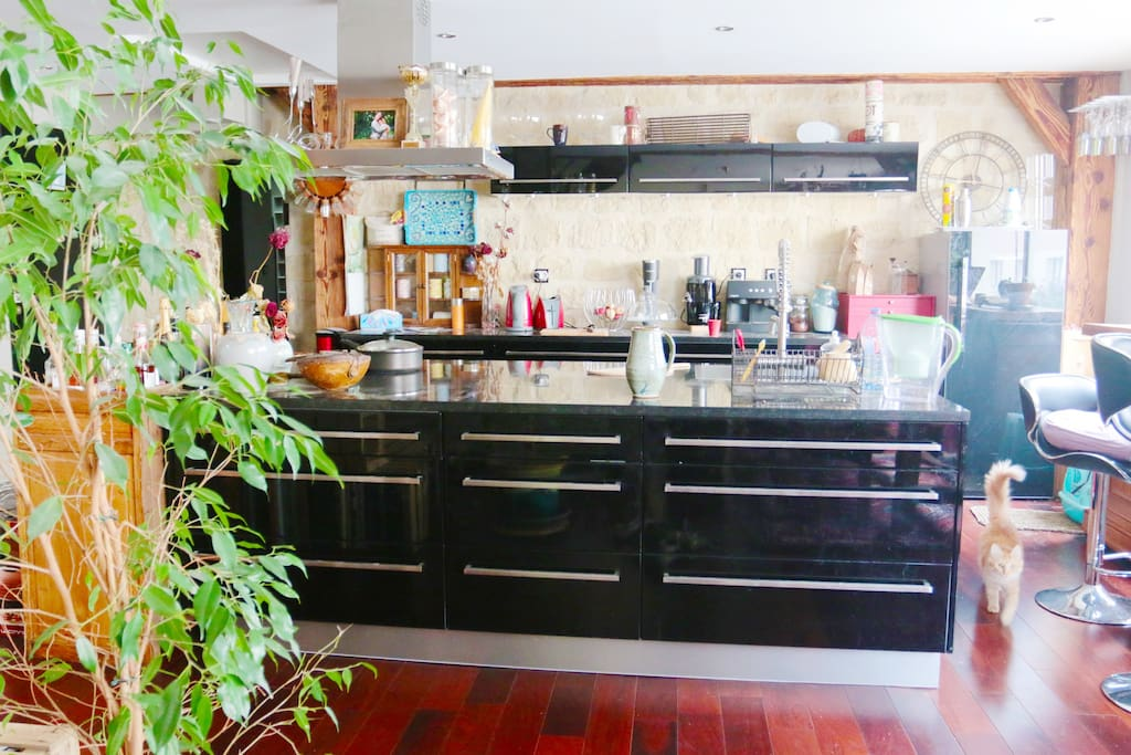 The kitchen is equiped and functional.