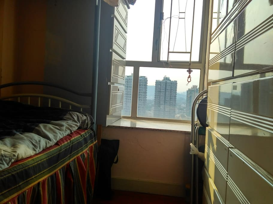 private room (no locks), single bed+ AC+ (shared table & mirror in living room) ;