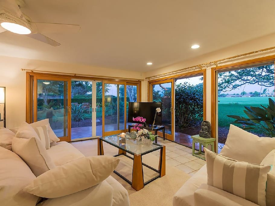 Living area with garden view