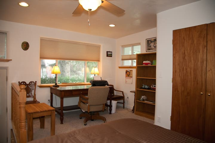 This spacious bedroom has separate outdoor access and a big queen bed as well as office space.