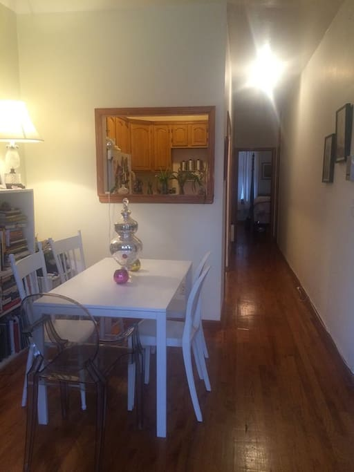 Dining area, kitchen and hallway