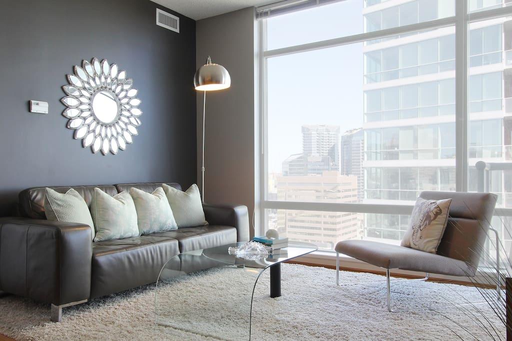 Leather Sofa, open floor plan