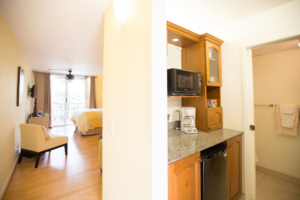 View from entry. Kitchenette and bathroom on right. Living area to your left!