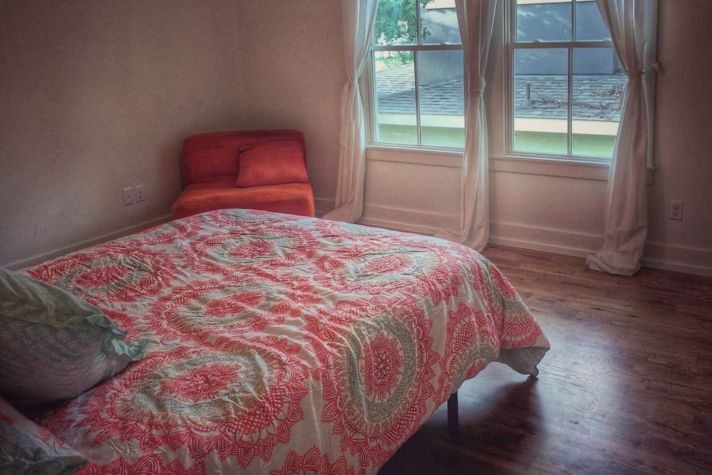 Bedroom 1 is a queen size room available for rent. Both rooms are the same size