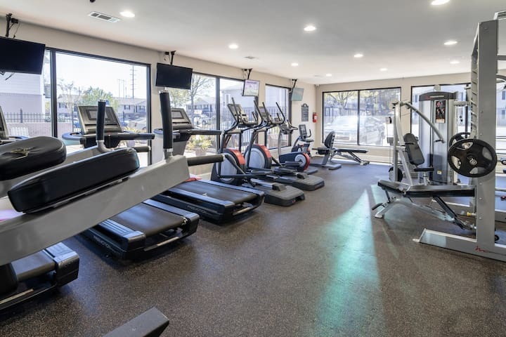 On-site gym just steps away with 24 hour access