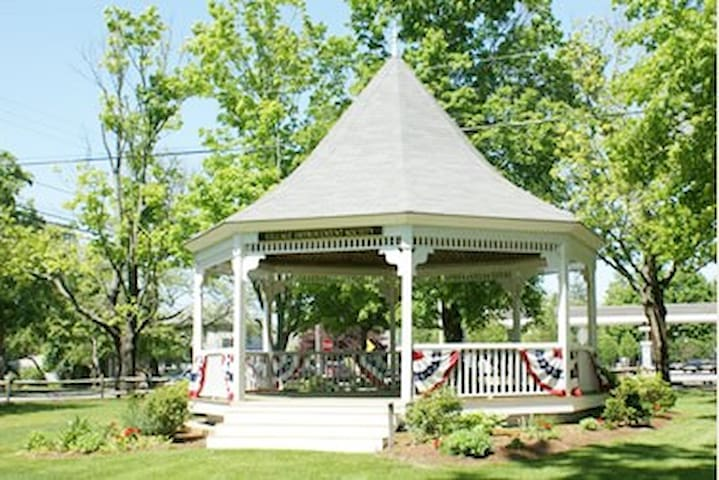You can hear the Monday night concerts from the gazebo in the back yard! Walk to town to hear some great music!