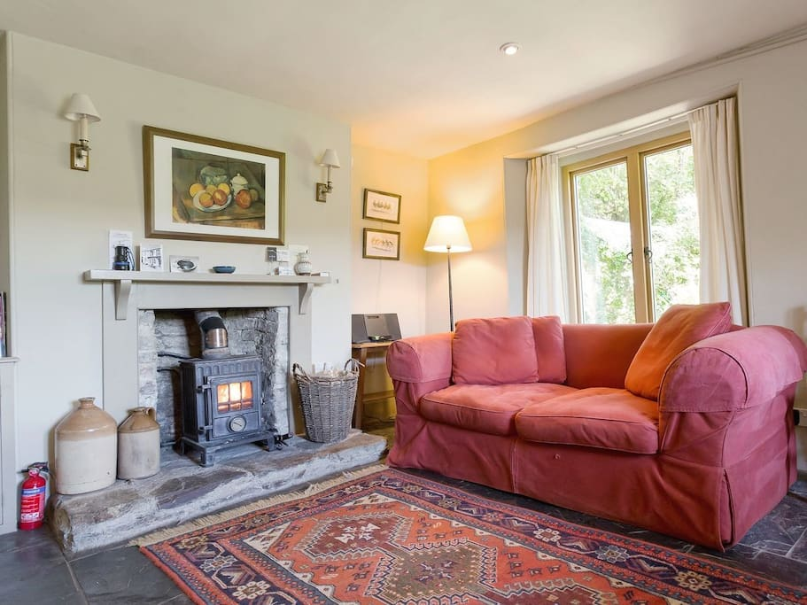The living room with log burning stove