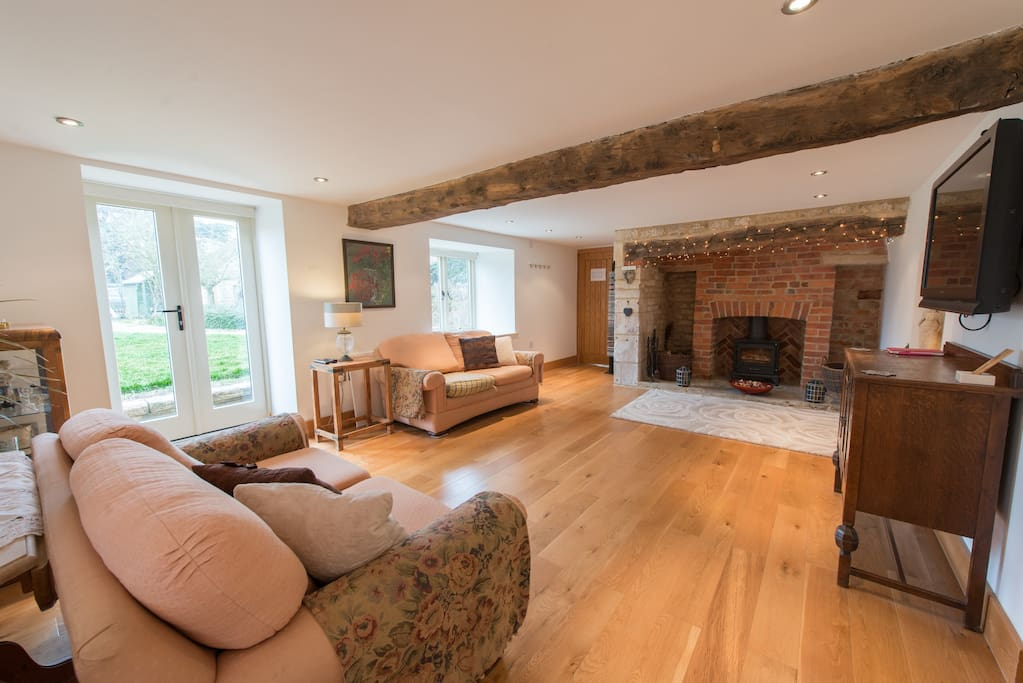 View of fireplace and woodburner