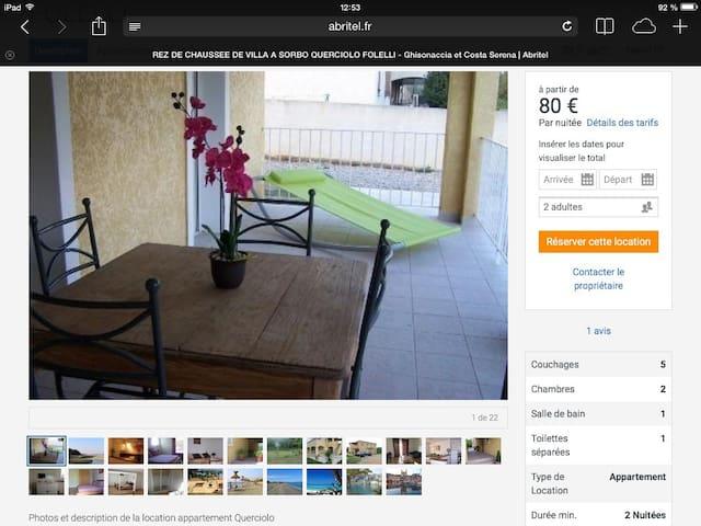 Location T3 rez de villa  - Sorbo-Ocagnano - Casa