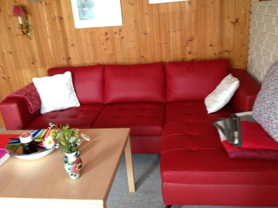 Nice sofa where you might whatch the TV or radio.