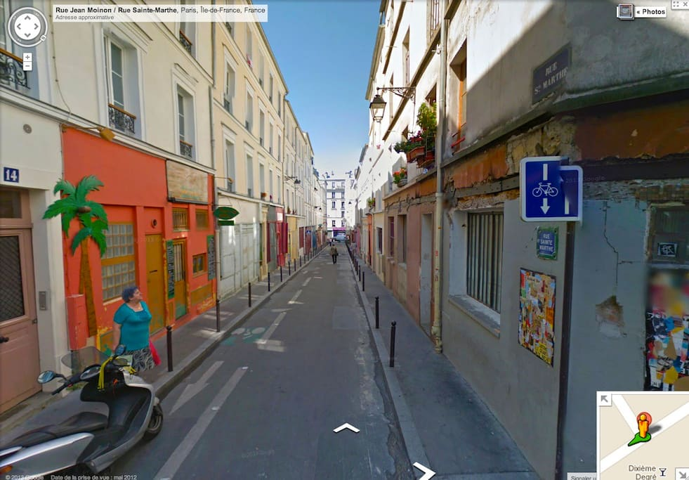 Rue Sainte-Marthe is famous for its colorful artists and handcrafts studios.