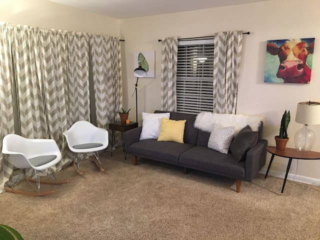 Living room- fold out futon and 2 rocking chairs