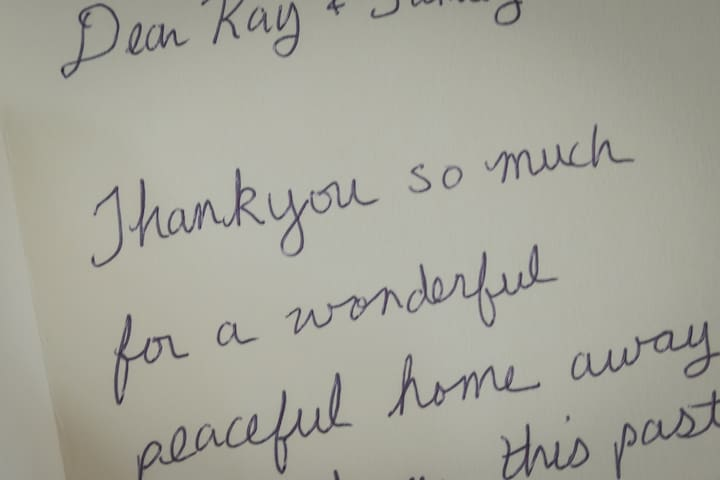 Guest left special card for thank you to me and family as guest enjoy a peaceful and wonderful staying home away home