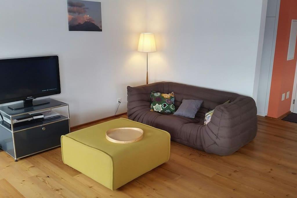 Cosy and bright living room with satellite/cable tv and very comfortable designer couches / Gemütliches und sehr helles Wohnzimmer mit Satelliten/Kabel TV und sehr gemütlichen Sofas