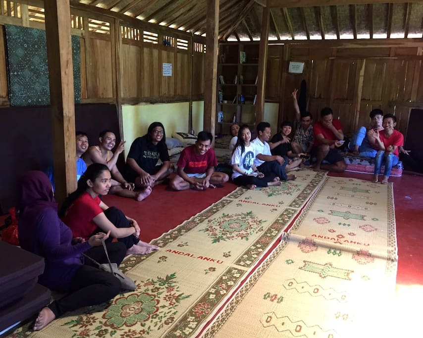 inside the balai building during the day. perfect for groups and families, lots of space