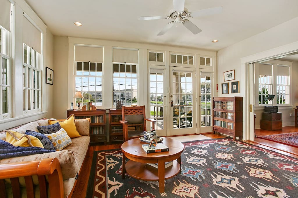 Front living room with views of Bayou St. John.