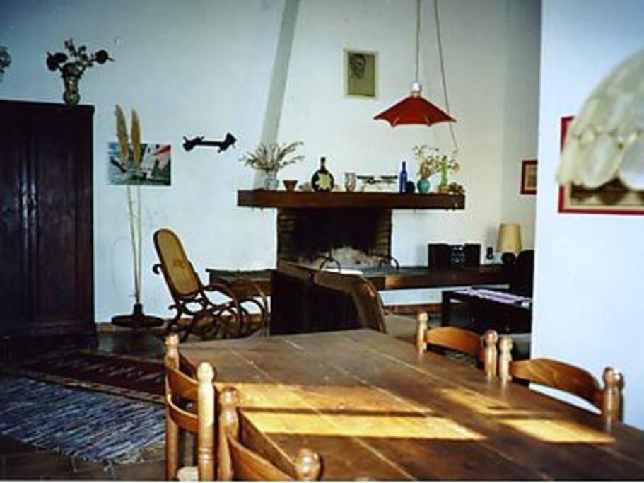 Blick aus der geräumigen Essecke für 12 Personen in den Wohnraum mit Kamin.