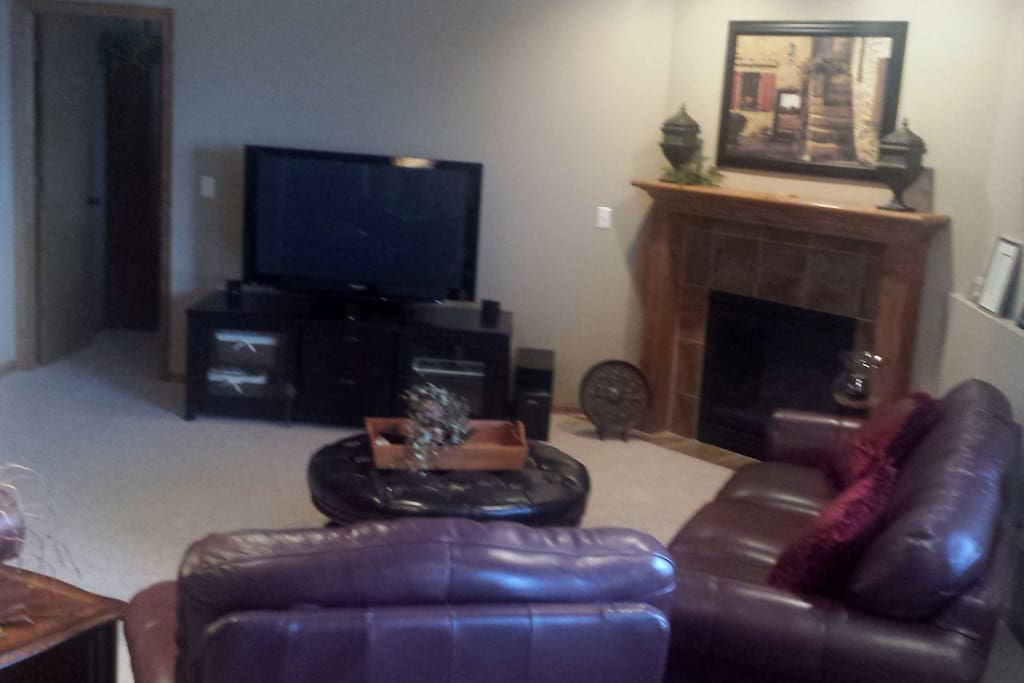 Fireplace and large screen television available. Walk-out basement.