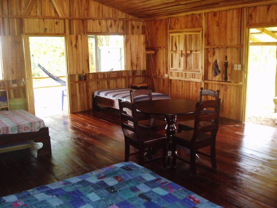 Cabin interior, but now the floor is natural wood!