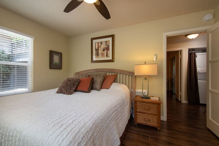 Master bedroom with comfortable king size bed, ceiling fan, closet with mirror doors, window to garden.