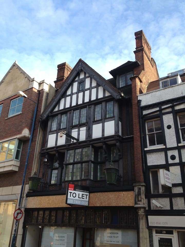 Street view of this 400 year old Tudor frontage.