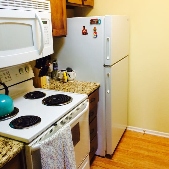 Granite countertops and modern fixtures. Fridge stocked with water, beer (Shiner most of the time) and chocolates.