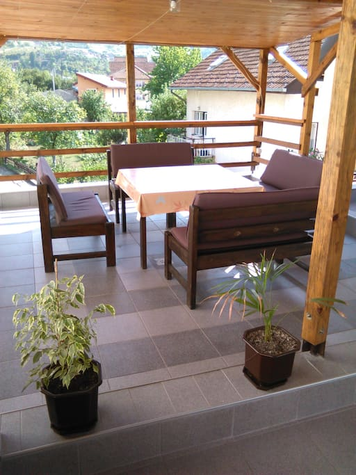 Outdoor sitting area with a barbecue facility