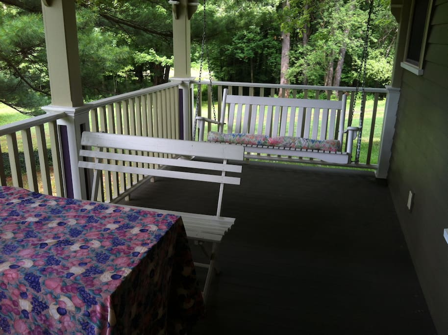 Picnic table and porch swing
