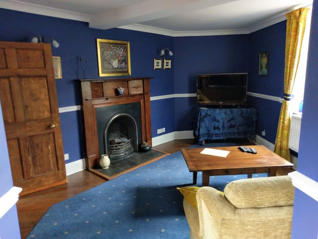 Cosy drawing room just painted in gorgeous cobalt, TV and fireplace. Dimmable lighting.