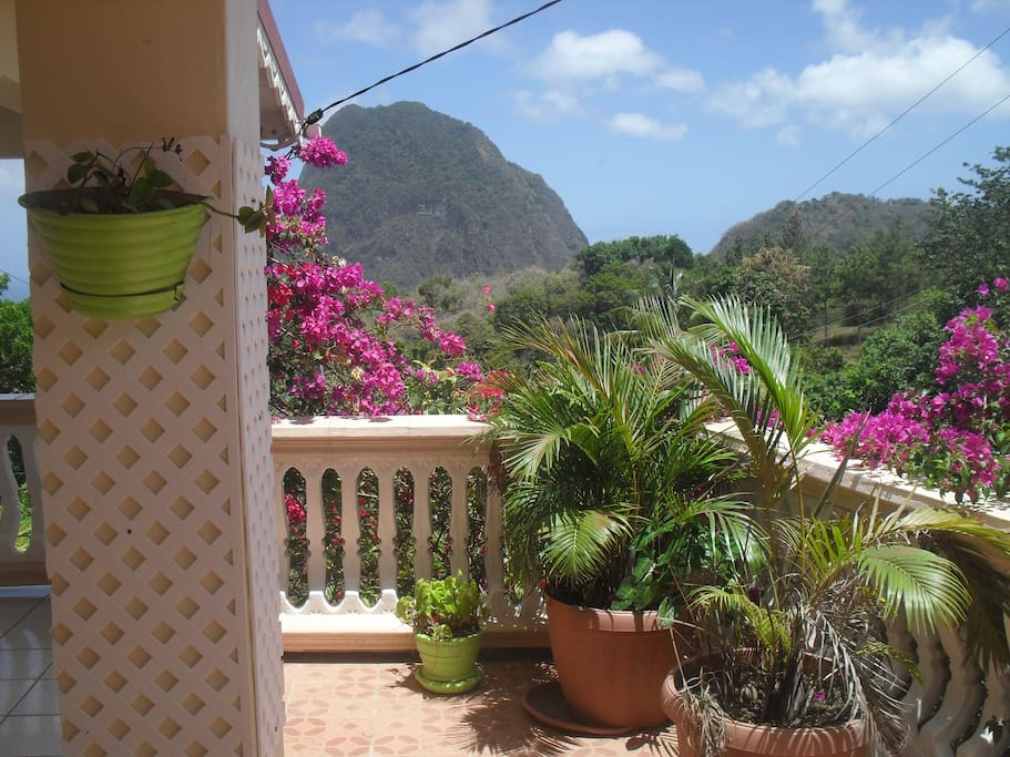 View from your Veranda of the world famous Pitons.