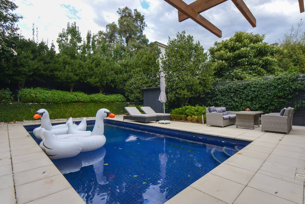 Huge Pool with sunlounges (Swans not currently inflated :))