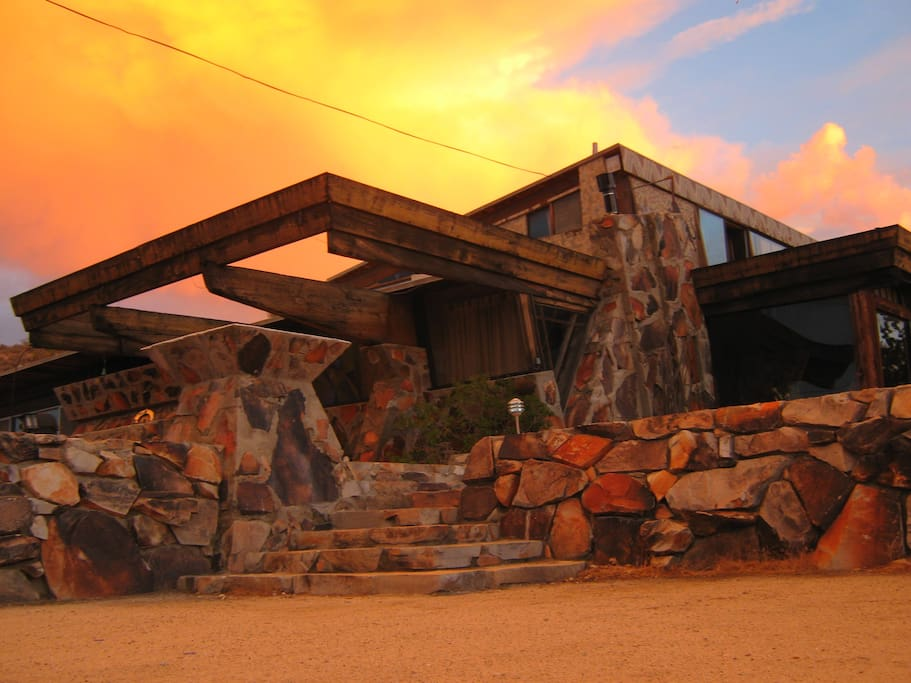 Frank Lloyd Wright inspired rock home built in the 1950s.