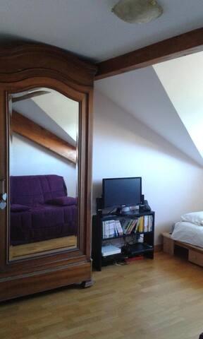 Chambre et SdB privatives à l'étage d'un duplex