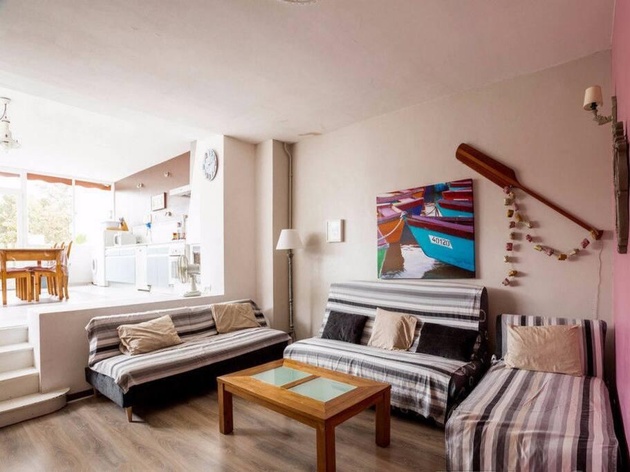 Salon 25m², 1 clic clac, 1 canapé, chauffeuse, TV écran plat, jeux, bibliothèque...