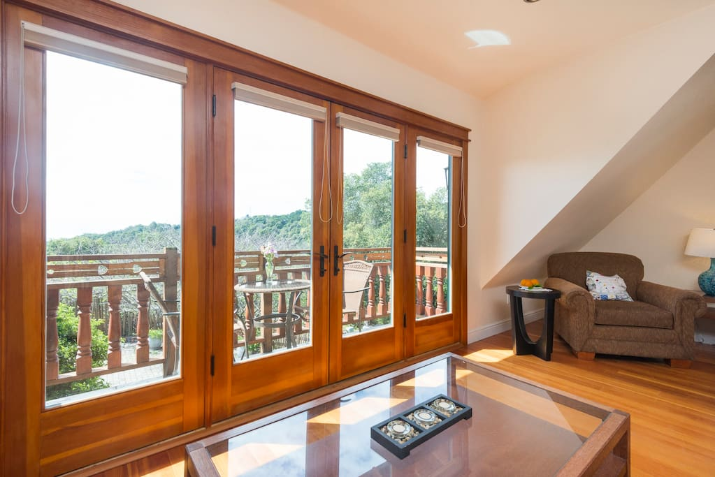 A private balcony overlooks our gardens.