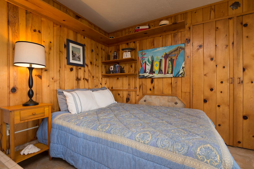 The Pool House has a spacious queen bed.