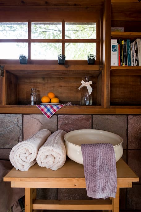 Fresh towels and a homey decor greet you upon arrival.