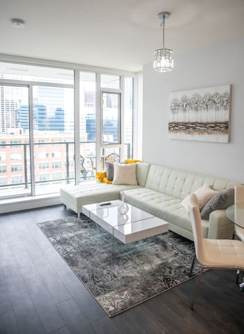 Luxury, downtown high-rise condo in Calgary.