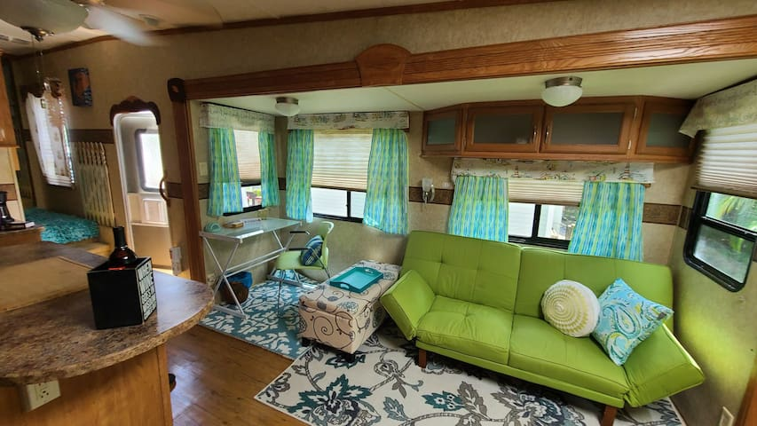 Cool Lounge Glamper. RV in resort on Pine Island