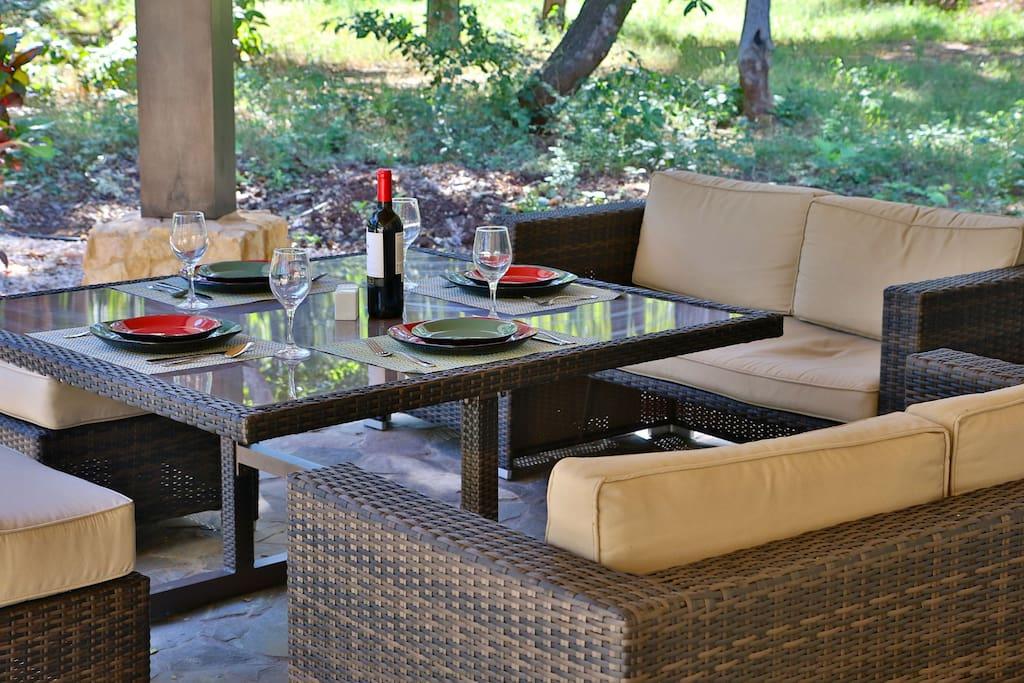 Patio set for al fresco dining on the patio.