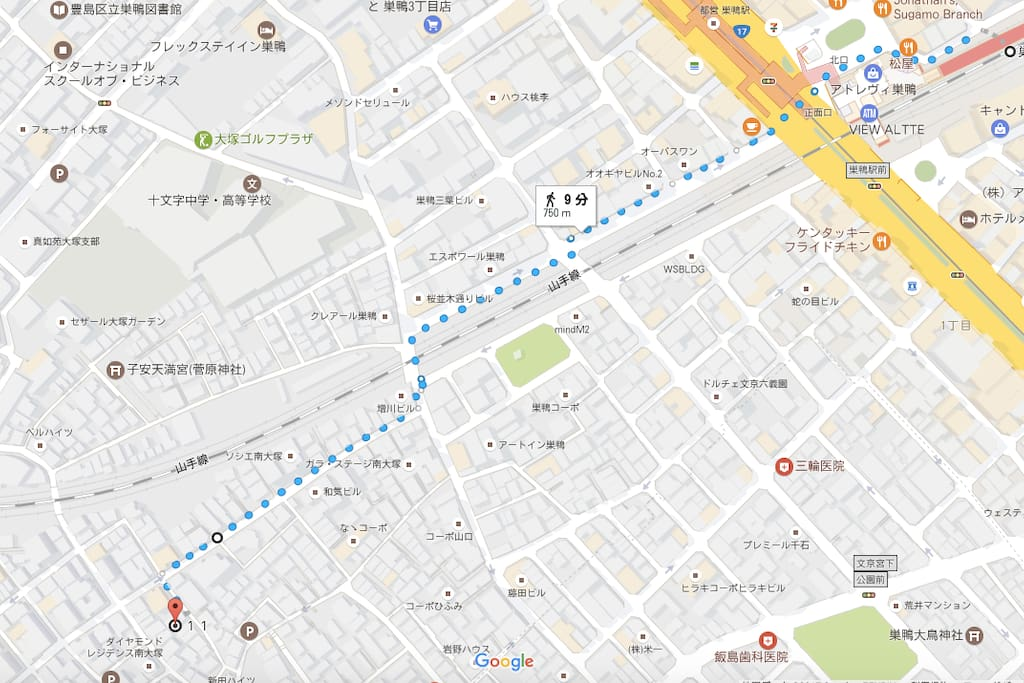 The directions to the hostel from Sugamo station.