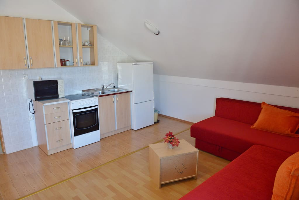Kitchen area and two bed-sofas