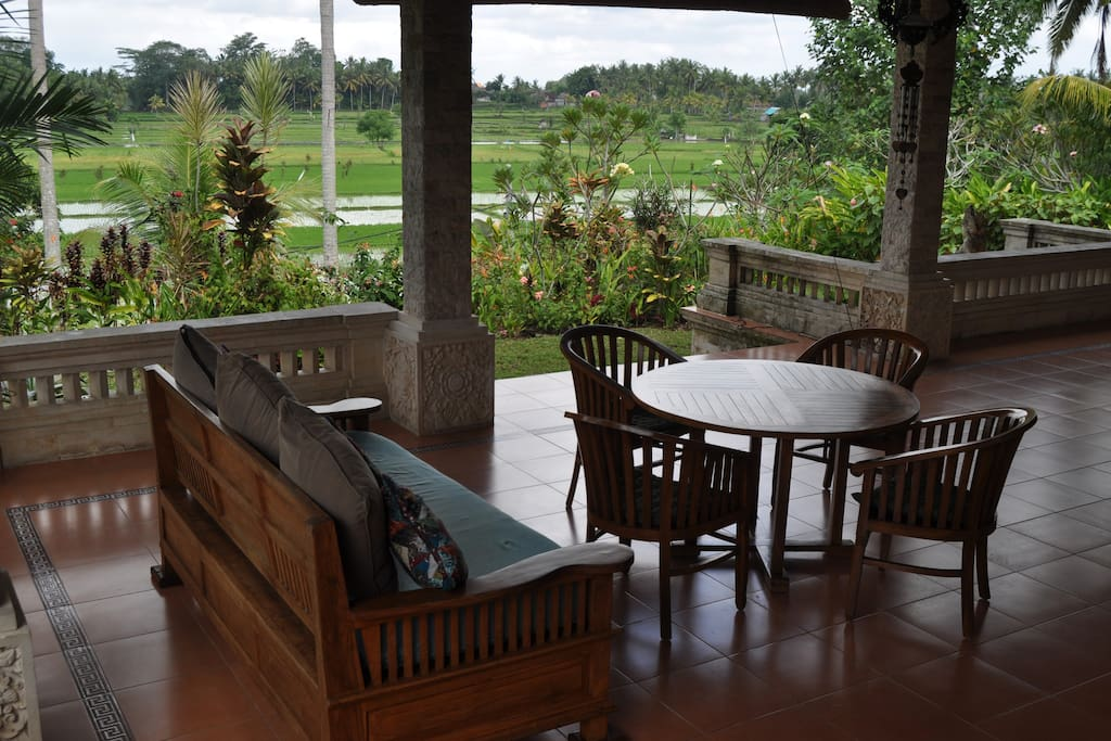 Large Verandah With Table And Very Nice Ricefields view