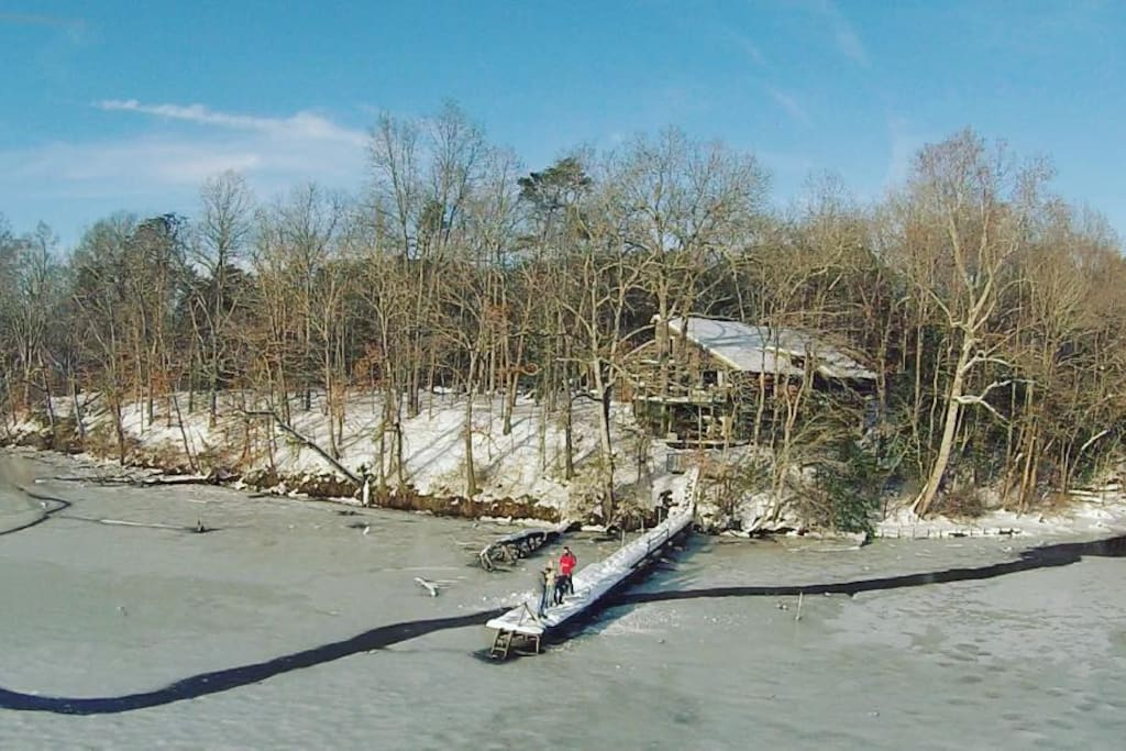View of River House at Moot Point Farm from drone -frozen Choptank River 1-25-16