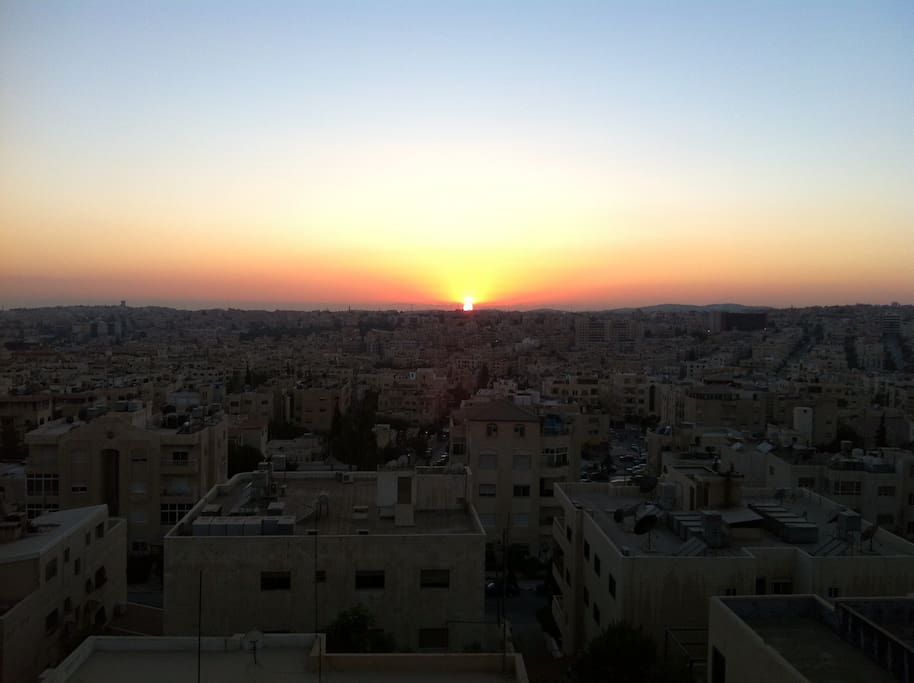 The sunset view from the apartment :)