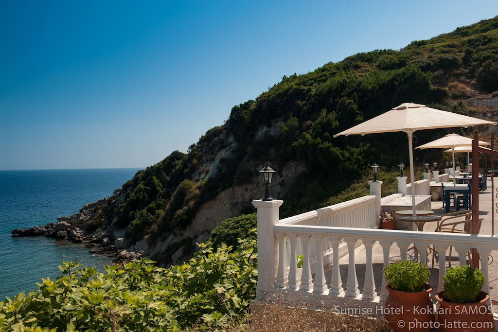 Our hotel terrace overlooking the sea- ideal for your morning coffee.