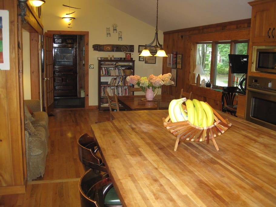 The view from the kitchen island to the great room, where there's plenty of space to kick back and socialize.