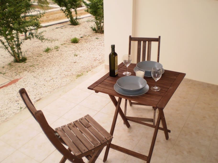A patio set is provided in the outside patio so you can enjoy the garden view.