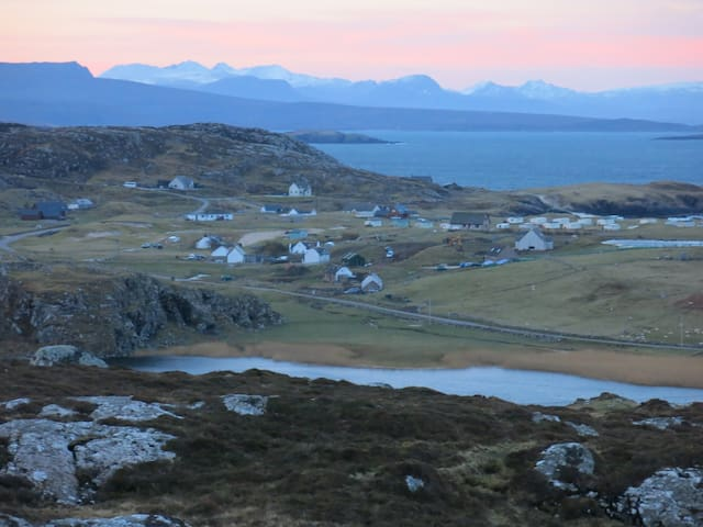 View from Stoer across Clachtoll to the hills beyond - probably the finest view in Scotland!