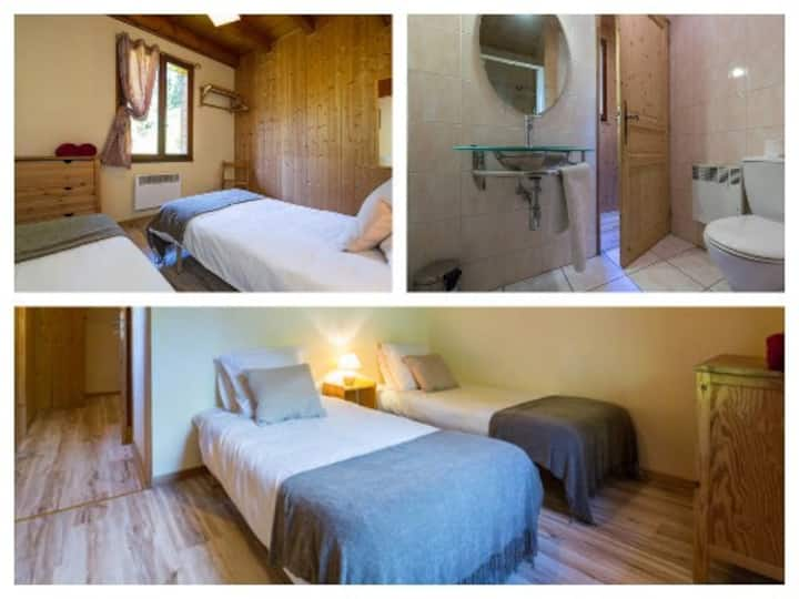 Le Jardin Twin ensuite bedroom Morzine B&B